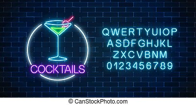 alphabet., alcohol, cóctel, neón, marco, gas, señal, vidrio...