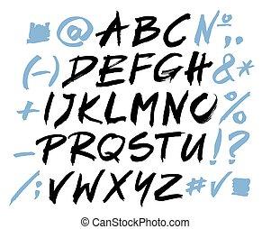 alphabet., alfabeto, scritto, vettore, nero, brush., lettere