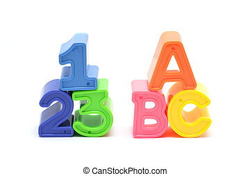 Alphabet and number blocks isolated on white background