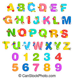 illustration of alphabet set with associate objects and number on isolated background