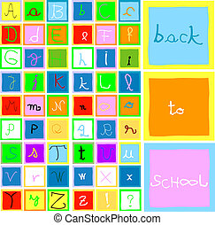 alphabet and numbers - back to school; collection of letters...