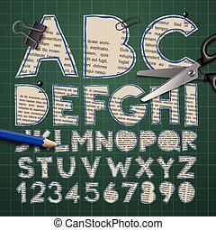 Alphabet and numbers, paper craft