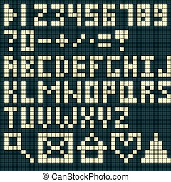 Alphabet and numbers pixel art style