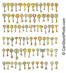 Alphabet and symbols on fairytale keys. Painting, isolated ...