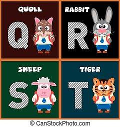 alphabet, anglaise, lettre, q