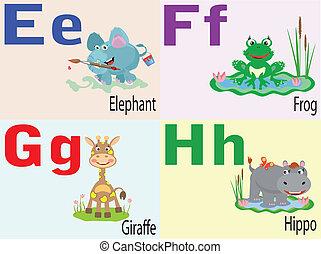 alphabet, animal, e