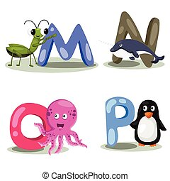alphabet, animal, lettre, illustrateur