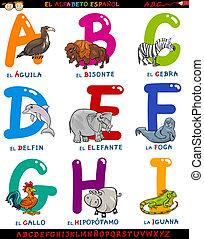 alphabet, animaux, dessin animé, espagnol