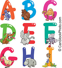 alphabet, animaux, dessin animé