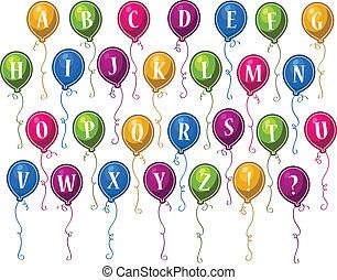 alphabet, anniversaire, ballons, heureux
