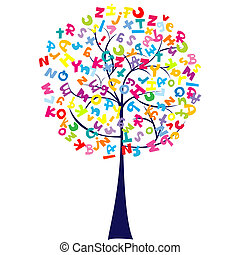 alphabet, arbre, lettres
