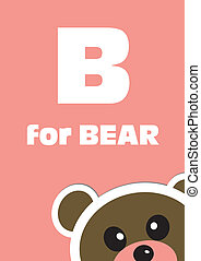 alphabet, bär, tier, b