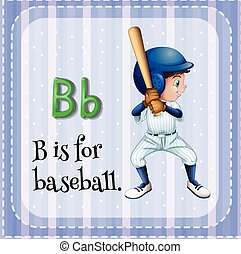 Alphabet B - Flashcard letter B is for baseball