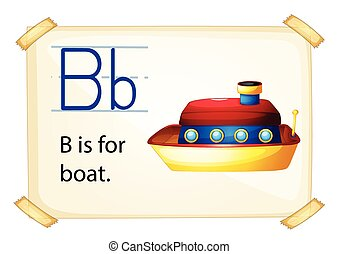 Alphabet B - Illustration of b for boat