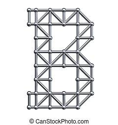 alphabet, b, métal, lettre