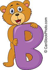 alphabet, b, mit, bär, karikatur