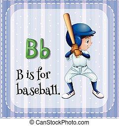 Alphabet B - Flashcard letter B is for baseball