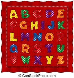 Alphabet Baby Quilt, Gingham Check and Pastel Polka Dots, Red Background
