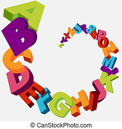 colorful 3d alphabet letters vector background