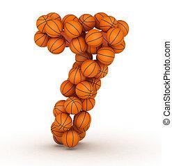 alphabet, basket-ball, numéro 7