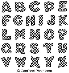Alphabet, Black and White Gingham