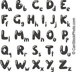 Alphabet black silhouette cartoon vector illustration.