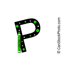 Alphabet Black to School P - The letter P, in the alphabet...