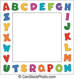 alphabet, blanc, frontière, cadre