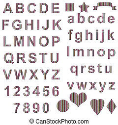alphabet, blanc, isolé