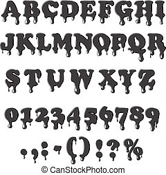 alphabet, blanc, pétrole, isolé, fond
