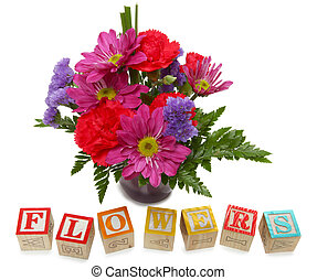 Alphabet Block Flowers - Small bouquet of flowers with...