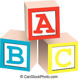 Alphabet Blocks - A 3D illustration of english alphabet...