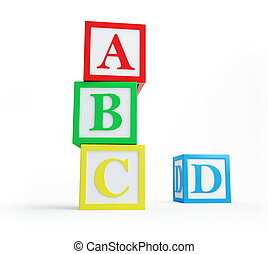 alphabet blocks a white background