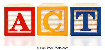 American College Test ACT alphabet blocks over white background.