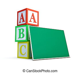alphabet blocks and blackboard