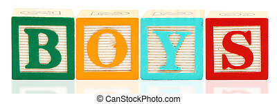 Alphabet Blocks BOYS - Colorful alphabet blocks spelling the...