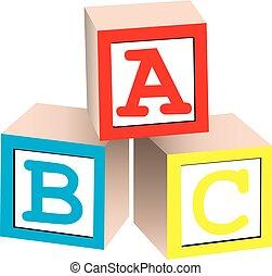 Alphabet Blocks - A 3D illustration of english alphabet...
