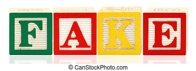 Colorful alphabet blocks spelling the word FAKE over white.