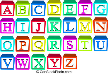 Alphabet blocks for child stack and build your words