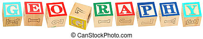 Colorful alphabet blocks spelling the word GEOGRAPHY.