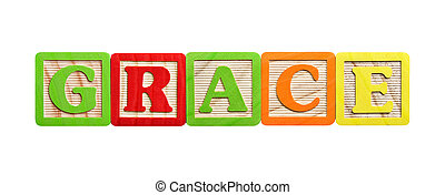 Alphabet blocks in the name of Grace or concept of grace