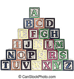 Alphabet Blocks - Illustration of a stack of ABC blocks A-Z ...