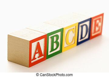 Alphabet blocks in a row.