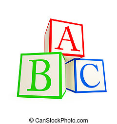 Alphabet blocks. Isolated on a white background.3d rendered.