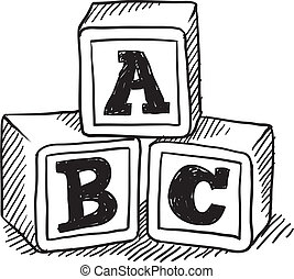 Alphabet blocks sketch - Doodle style children's block toys...