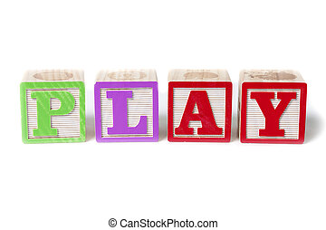 Alphabet blocks spelling the word Play, isolated on white background.