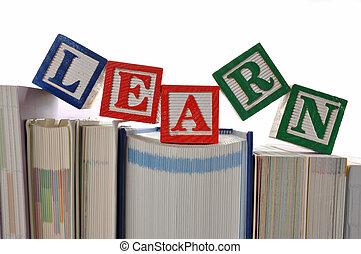 Alphabet Blocks spelling the words learn