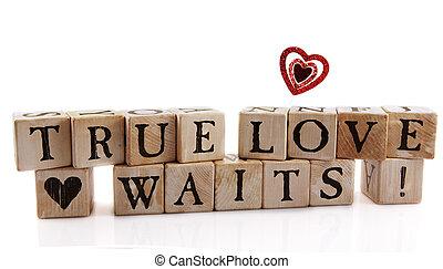 "True Love Waits - Alphabet blocks that spell out ""True Love ..."