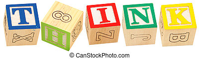 Alphabet Blocks THINK - Colorful alphabet blocks spelling...