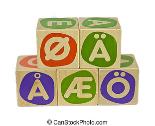 Alphabet blocks with all the Scandinavian and German symbols for the vowels ae, oe and aa. Isolated on white background.
